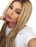 Недорогие -Remy Полностью ленточные Лента спереди Парик Бразильские волосы Прямой Естественный прямой Блондинка Парик Ассиметричная стрижка 130% 150% 180% Плотность волос Мягкость Женский Лучшее качество / Мода