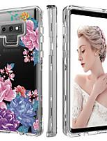 Недорогие -BENTOBEN Кейс для Назначение SSamsung Galaxy Note 9 Защита от удара / Прозрачный / С узором Чехол Растения / Цветы Твердый ТПУ / ПК для Note 9