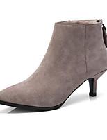 Недорогие -Жен. Fashion Boots Замша Осень Ботинки На шпильке Закрытый мыс Ботинки Миндальный