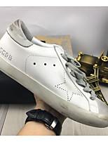 baratos -Mulheres Sapatos Confortáveis Pele Napa Verão Tênis Sem Salto Dedo Fechado Branco