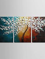 abordables -Peinture à l'huile Hang-peint Peint à la main - Abstrait / A fleurs / Botanique Moderne Toile / Trois Panneaux
