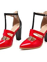 Недорогие -Жен. Комфортная обувь Полиуретан Весна Обувь на каблуках На толстом каблуке Черный