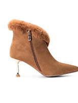 Недорогие -Жен. Fashion Boots Замша / Кожа Зима Ботинки На шпильке Закрытый мыс Ботинки Пух Черный / Темно-коричневый / Телесный