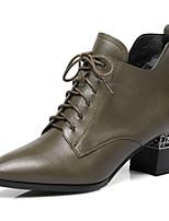 Недорогие -Жен. Fashion Boots Наппа Leather Зима Ботинки Блочная пятка Ботинки Черный / Военно-зеленный / Красный