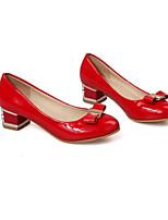 Недорогие -Жен. Балетки Полиуретан Весна Обувь на каблуках На толстом каблуке Бежевый / Красный / Розовый