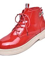 Недорогие -Жен. Армейские ботинки Полиуретан Осень На каждый день Ботинки На низком каблуке Круглый носок Сапоги до середины икры Белый / Черный / Красный
