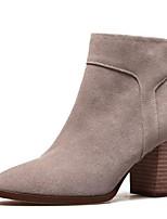 Недорогие -Жен. Fashion Boots Замша Зима Ботинки На толстом каблуке Закрытый мыс Ботинки Черный / Серый