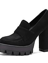 Недорогие -Жен. Комфортная обувь Микроволокно Весна Обувь на каблуках На толстом каблуке Черный / Верблюжий / Миндальный
