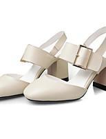 Недорогие -Жен. Комфортная обувь Наппа Leather Лето Обувь на каблуках На толстом каблуке Белый / Черный / Зеленый