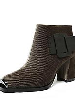 Недорогие -Жен. Fashion Boots Замша Зима Ботинки На толстом каблуке Закрытый мыс Ботинки Черный / Хаки