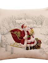 Недорогие -Наволочка Новогодняя тематика Хлопок Квадратный Оригинальные Рождественские украшения