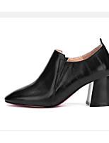Недорогие -Жен. Балетки Наппа Leather Весна Обувь на каблуках На толстом каблуке Черный / Вино