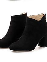 Недорогие -Жен. Fashion Boots Замша Осень Ботинки На толстом каблуке Закрытый мыс Ботинки Черный / Миндальный / Вино