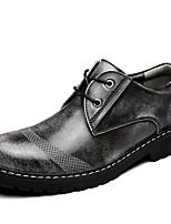 Недорогие -Муж. Кожаные ботинки Кожа Зима На каждый день / Английский Туфли на шнуровке Водостойкий Черный / Серый / Коричневый