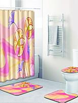 Недорогие -1 комплект Modern Коврики для ванны 100 г / м2 полиэфирный стреч-трикотаж Цветочный принт Прямоугольная Ванная комната Очаровательный