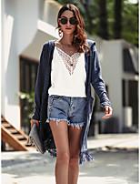 Недорогие -женский длинный рукав кардиган - сплошной цветной воротник рубашки