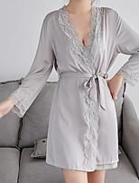 abordables -Asymétrique Lingerie en Dentelle Pyjamas Femme Couleur Pleine