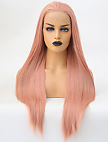 Недорогие -Синтетические кружевные передние парики Шелковисто-прямые Розовый Свободная часть Искусственные волосы 24 дюймовый Регулируется / Жаропрочная Розовый Парик Жен. Длинные Лента спереди Розовый / Да