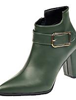Недорогие -Жен. Fashion Boots Полиуретан Осень На каждый день Ботинки На толстом каблуке Сапоги до середины икры Черный / Оранжевый / Зеленый