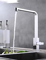 Недорогие -кухонный смеситель - Современный Хром Настольная установка