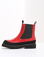 Недорогие -Жен. Комфортная обувь Наппа Leather Наступила зима Ботинки На плоской подошве Ботинки Белый / Черный / Красный