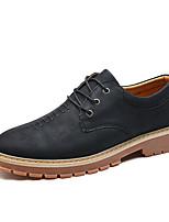Недорогие -Муж. Комфортная обувь Кожа Осень На каждый день Туфли на шнуровке Дышащий Черный / Серый / Коричневый