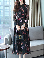 baratos -Mulheres Básico balanço Vestido Médio Borboleta