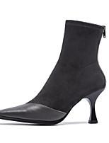 Недорогие -Жен. Комфортная обувь Наппа Leather Наступила зима Ботинки Гетеротипическая пятка Черный / Темно-серый