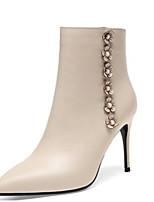 Недорогие -Жен. Fashion Boots Наппа Leather Осень Ботинки На шпильке Закрытый мыс Ботинки Черный / Бежевый