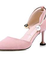 Недорогие -Жен. Комфортная обувь Замша Лето Обувь на каблуках На шпильке Черный / Розовый / Миндальный