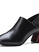 baratos -Mulheres Fashion Boots Pele Napa Primavera Botas Salto Robusto Dedo Fechado Botas Curtas / Ankle Preto / Marron