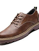 Недорогие -Муж. Комфортная обувь Полиуретан Осень На каждый день Туфли на шнуровке Нескользкий Черный / Серый / Хаки