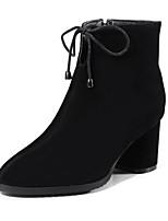 Недорогие -Жен. Fashion Boots Замша Осень Ботинки На толстом каблуке Закрытый мыс Ботинки Черный / Бежевый