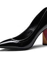 Недорогие -Жен. Балетки Наппа Leather Весна / Осень Обувь на каблуках На толстом каблуке Черный / Миндальный