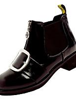 Недорогие -Жен. Fashion Boots Полиуретан Зима На каждый день Ботинки На толстом каблуке Сапоги до середины икры Черный