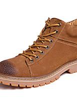 Недорогие -Муж. Армейские ботинки Кожа Зима Винтаж / На каждый день Ботинки Сохраняет тепло Сапоги до середины икры Черный / Серый / Коричневый