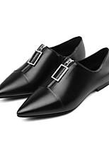 Недорогие -Жен. Комфортная обувь Кожа Лето На плокой подошве На плоской подошве Черный