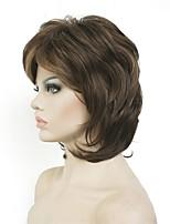 Недорогие -Парики из искусственных волос Кудрявый Стрижка каскад Искусственные волосы 6 дюймовый синтетический Темно-коричневый / Блондинка Парик Жен. Средняя длина Без шапочки-основы Коричнево-золотой