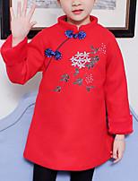 baratos -Infantil Para Meninas Moda de Rua / Temática Asiática Diário / Para Noite Floral Bordado Manga Longa Lã / Poliéster Vestido Vermelho