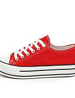 baratos -Mulheres Sapatos Confortáveis Lona Outono Tênis Sem Salto Preto / Vermelho / Azul