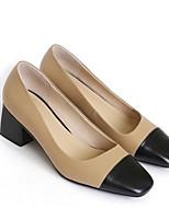 Недорогие -Жен. Комфортная обувь Наппа Leather Осень Обувь на каблуках На толстом каблуке Коричневый / Миндальный