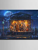 Недорогие -С картинкой Отпечатки на холсте - Абстракция / Halloween Modern