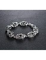abordables -Homme Le style rétro Bracelets Vintage - Acier au titane Crâne Elégant, Rétro, Européen Bracelet Argent Pour Halloween Plein Air