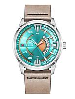 Недорогие -CURREN Муж. Спортивные часы Японский Японский кварц 30 m Защита от влаги Календарь Повседневные часы Кожа Группа Аналоговый На каждый день Мода Черный / Серый - Черный Серый