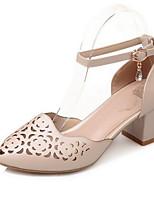 Недорогие -Жен. Комфортная обувь Микроволокно Весна Обувь на каблуках На толстом каблуке Белый / Розовый / Миндальный