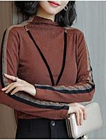 Недорогие -женская выходная тонкая футболка - шея экипажа цветного блока