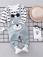 billiga -Bebis Flickor Grundläggande Dagligen Enfärgad Långärmad Normal Normal Polyester Klädesset Grön 100 / Småbarn