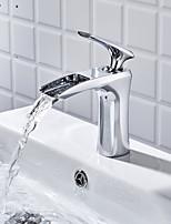 abordables -Robinet lavabo - Séparé Chrome Set de centre Mitigeur un trou