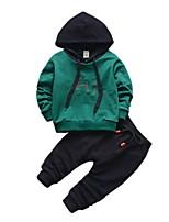 Недорогие -Дети Мальчики Классический Однотонный Длинный рукав Полиэстер Набор одежды Зеленый 100