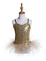 abordables -Danse classique Robes Fille Entraînement / Utilisation Polyester / Spandex / Pailleté Paillette Sans Manches Robe